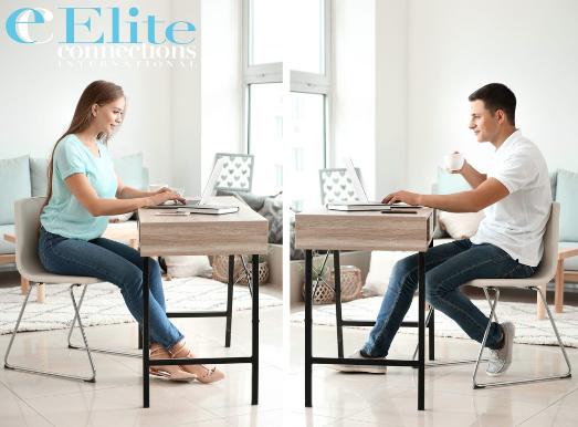 couple communicating via online